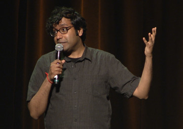 Hari Kondabolu performing anti-racist comedy at Solid Ground's April 7, 2016 Building Community Luncheon